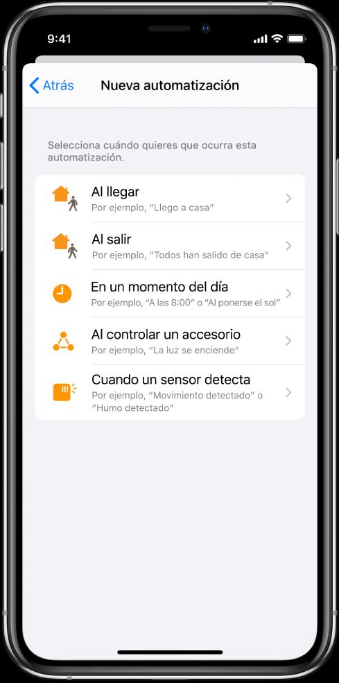 Automatización de casa en la app Atajos.