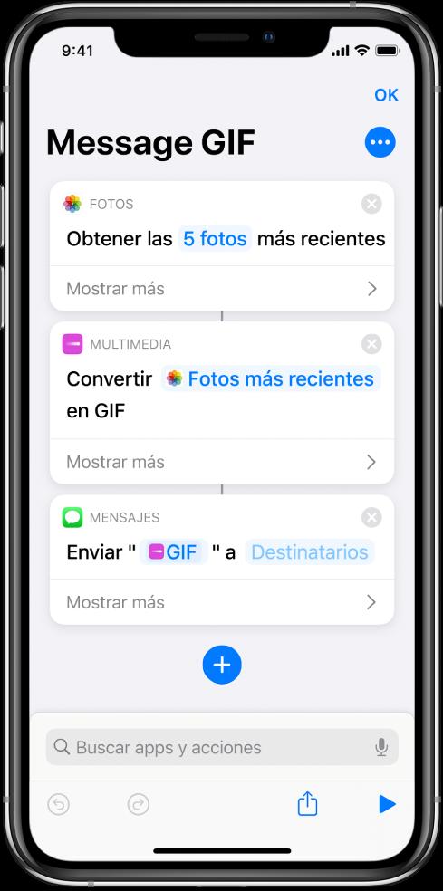 Editor de atajos que muestra las acciones que se usan para enviar un mensaje con fotos como GIF animado.