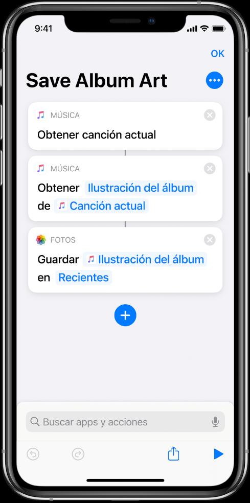 Ejemplo de atajo que muestra acciones que extraen contenido de una entrada.