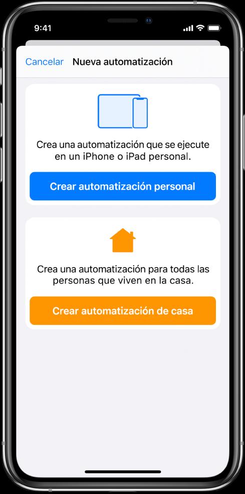 Nueva automatización cuando existe una automatización en la app Atajos.