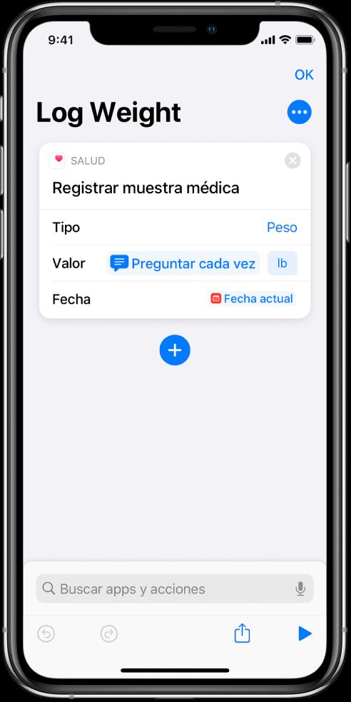 """Identificador de la variable """"Preguntar cada vez"""" en el campo Fecha de la acción """"Registrar muestra médica""""."""