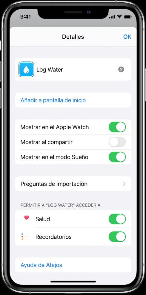 """Pantalla Detalles en la app Atajos que muestra """"Mostrar en el AppleWatch""""."""