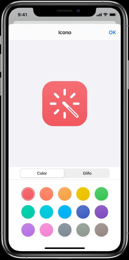 Pantalla de Icono que muestra las opciones de color de los atajos.