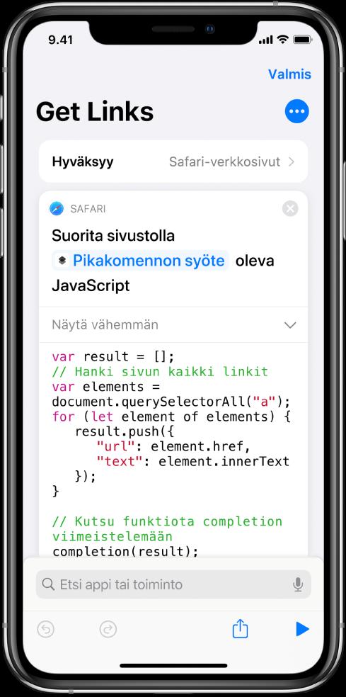 Suorita JavaScript verkkosivulla -toiminto pikakomentoeditorissa.