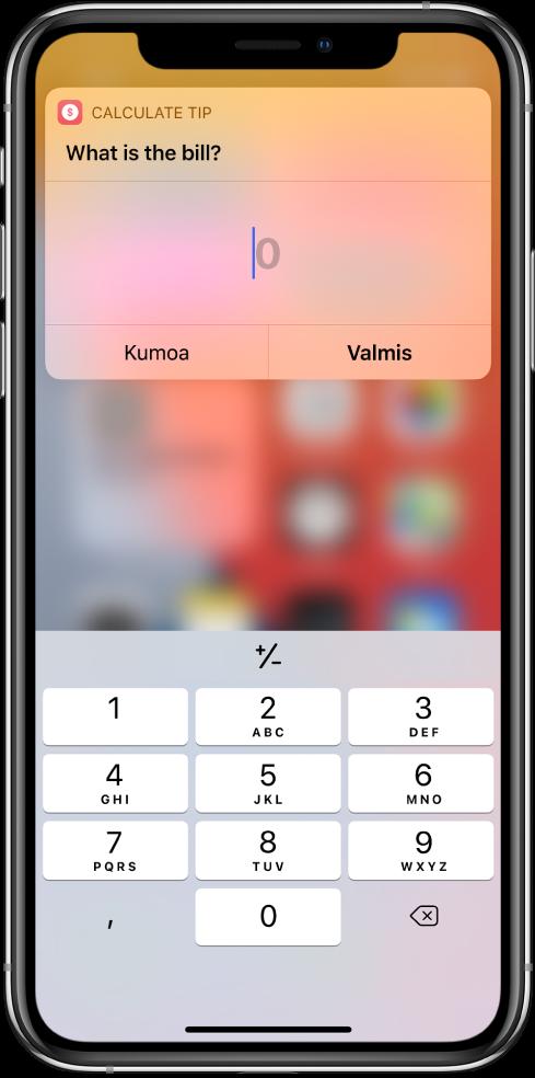 Numeronäppäimistö Pikakomennot-widgetissä.