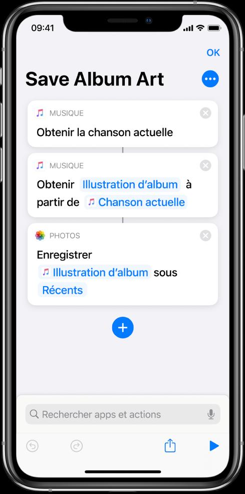 Exemple de raccourci qui affiche des actions qui extraient du contenu transmis en entrée.