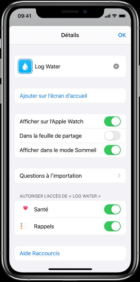 L'écran Détails dans l'app Raccourcis affichant «Afficher sur l'AppleWatch».