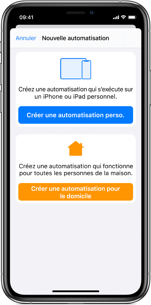 La section Automatisation de l'app Raccourcis.