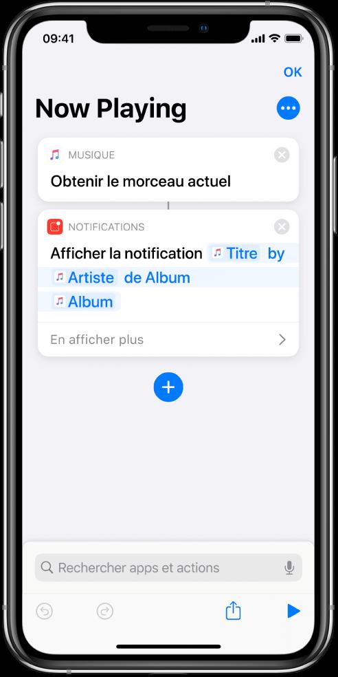 Action «Afficher la notification» dans l'éditeur de raccourci et alerte Musique «À l'écoute» appelée par l'action «Afficher la notification».