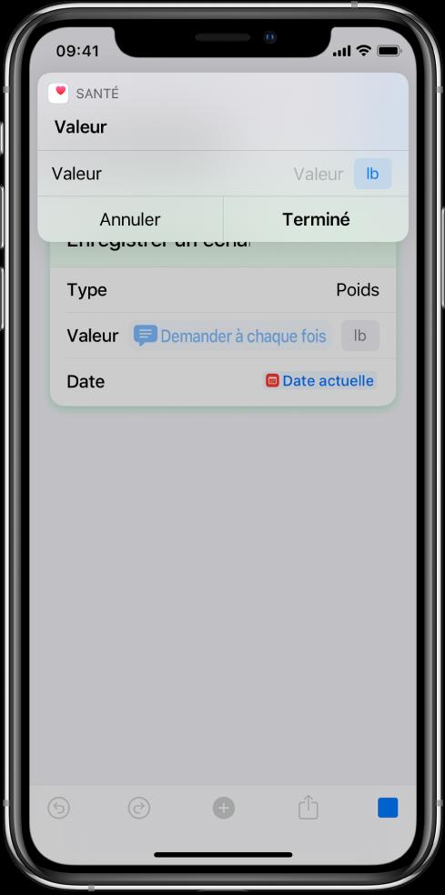 Variable «Demander à chaque fois» mettant le raccourci en pause pour demander des données saisies manuellement.