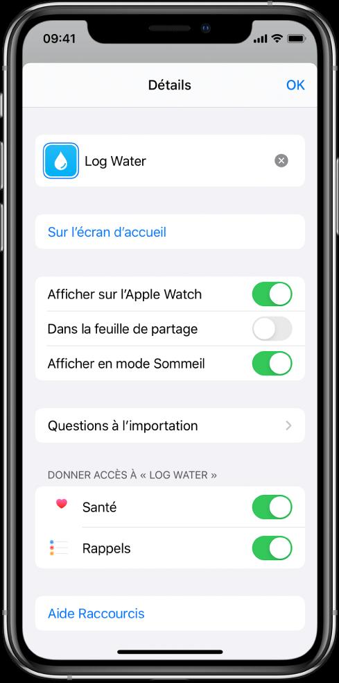 Écran Détails dans l'app Raccourcis montrant l'option «Afficher sur l'AppleWatch».
