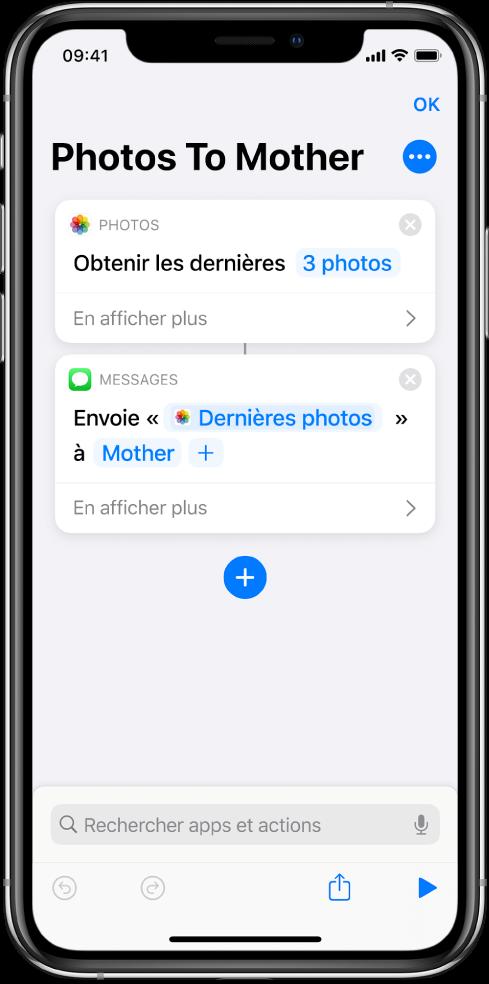 Un raccourci contenant l'action «Obtenir les dernières photos» et l'action «Envoyer le message».