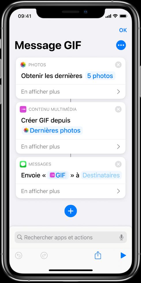 Éditeur de raccourci affichant les actions utilisées pour envoyer un message contenant des photos sous la forme d'un GIF animé.