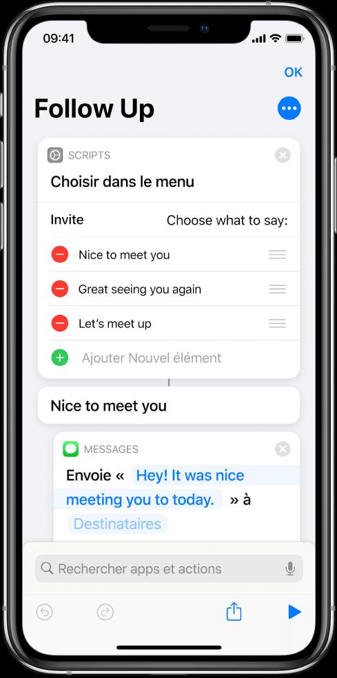 Exemple de raccourci montrant une action «Choisir dans le menu».