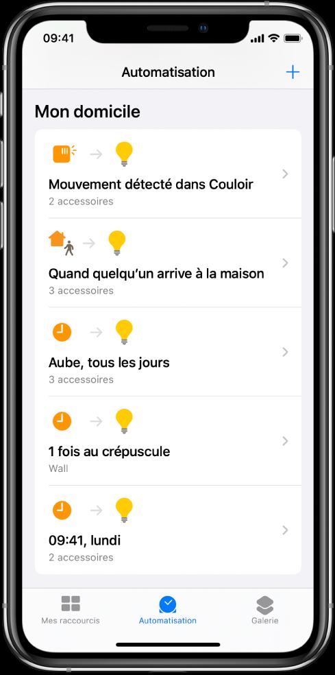 Automatisation pour le domicile dans l'app Raccourcis.