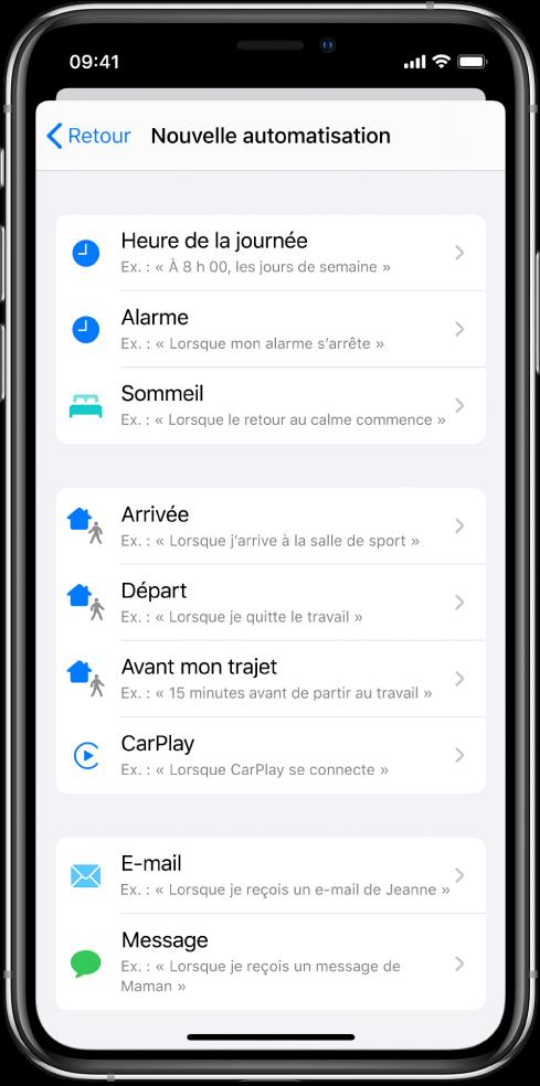 Une automatisation personnelle se déclenche dans l'app Raccourcis.