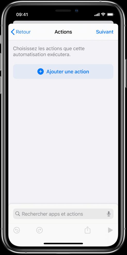 Une automatisation vide dans l'éditeur d'automatisation de l'app Raccourcis.