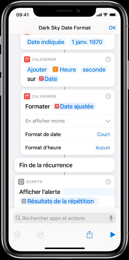 Raccourci avec des actions permettant de traduire l'heure UNIX dans un format de date plus lisible par l'utilisateur.