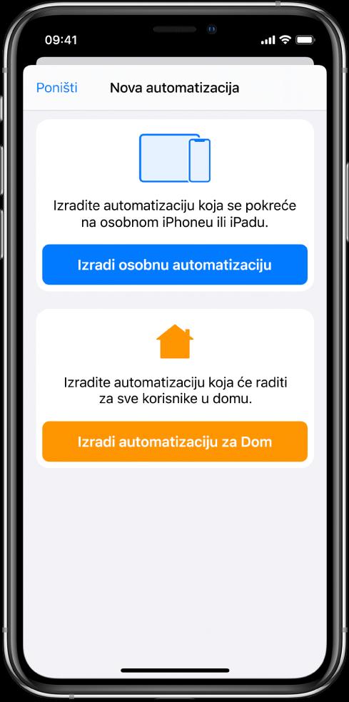 Nova automatizacija kada automatizacija već postoji u aplikaciji Prečaci.