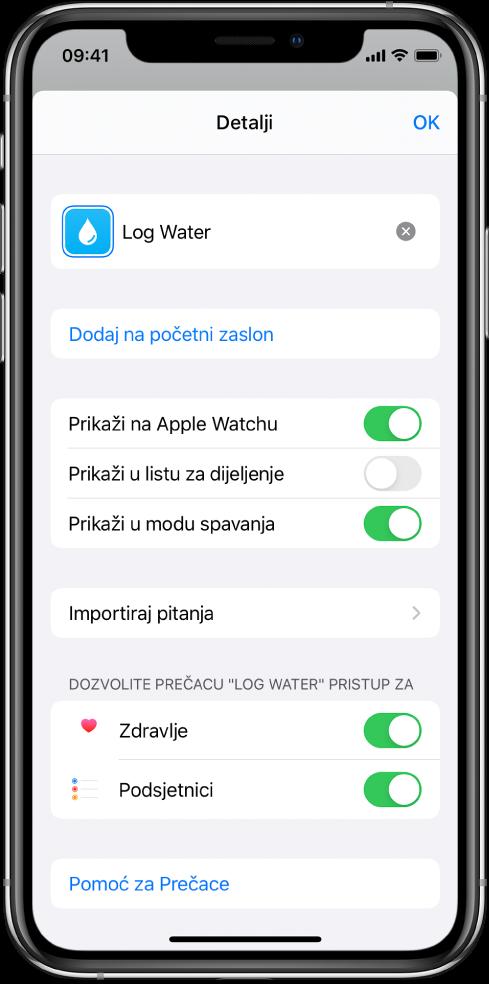 Zaslon s detaljima u aplikaciji Prečaci s prikazom opcije Prikaži na Apple Watchu.