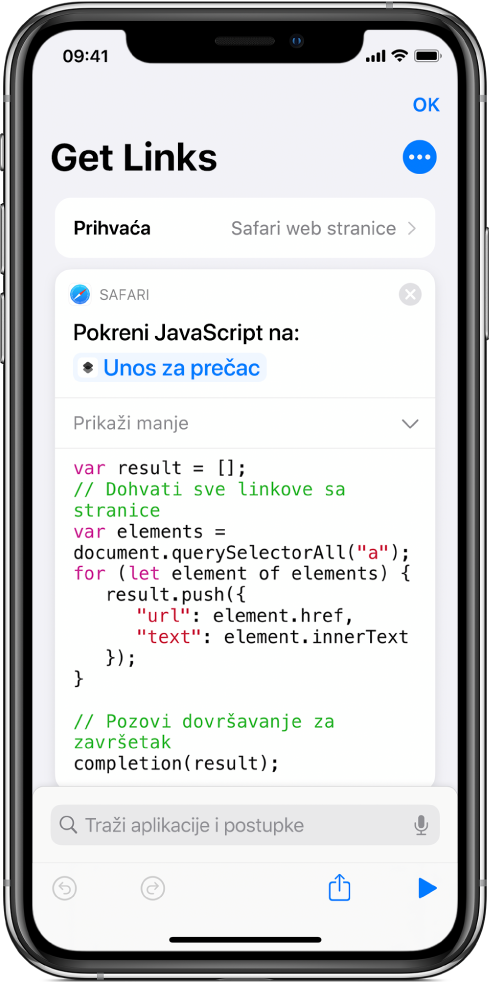 Postupak Pokreni JavaScript na web stranici u uredniku prečaca.