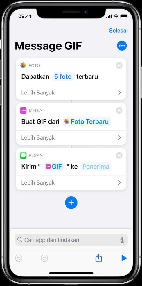 Editor pintasan menampilkan tindakan yang digunakan untuk mengirimkan pesan dengan foto sebagai animasi GIF.