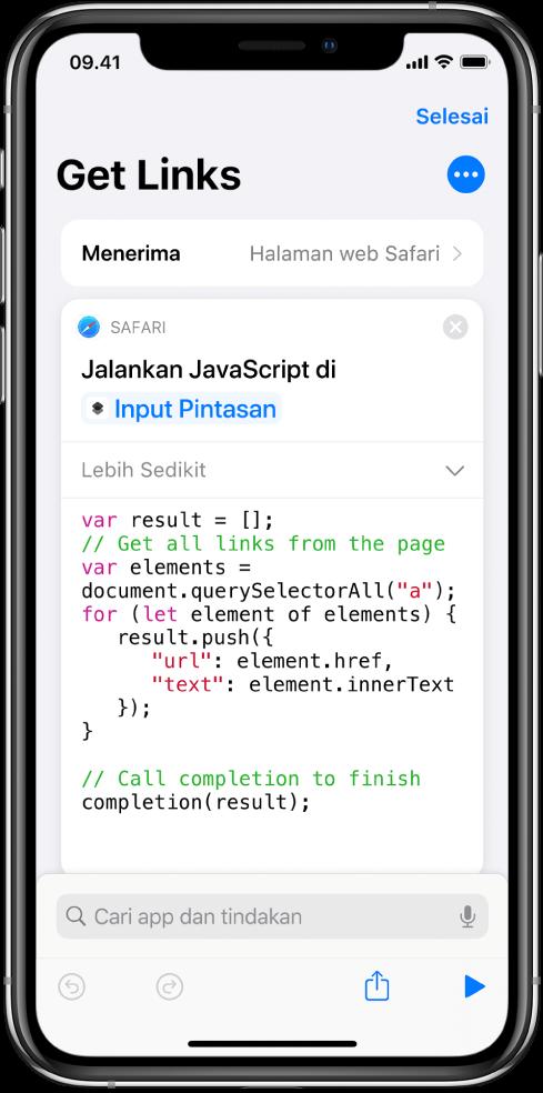 Tindakan Jalankan JavaScript di Halaman Web di editor pintasan.