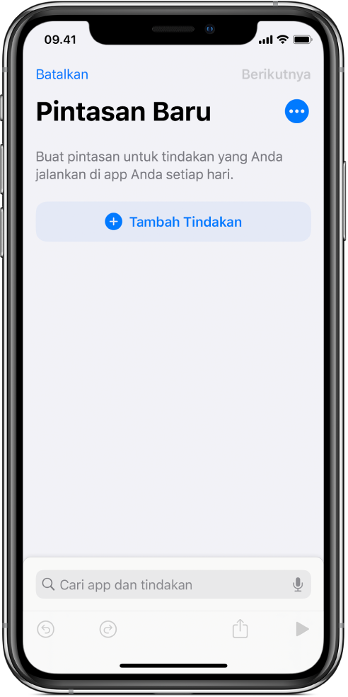 Editor pintasan kosong di iPhone.