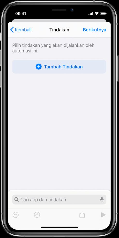 Automasi kosong di editor automasi app Pintasan.