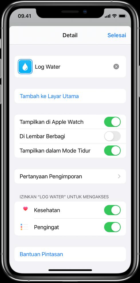 Layar Detail di app Pintasan menampilkan Tambahkan ke Layar Utama.