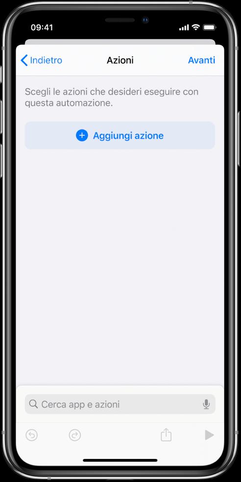 Un'automazione vuota nell'editor delle automazioni dell'app Comandi Rapidi.