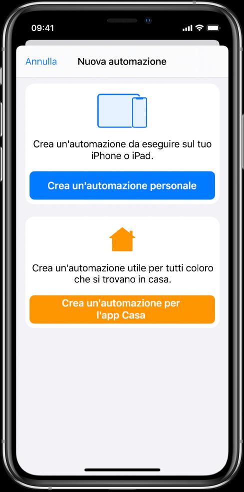 La sezione Automazione dell'app Comandi Rapidi.
