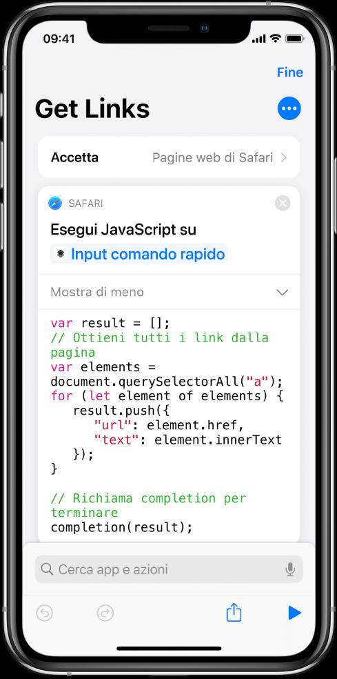 """L'azione """"Esegui JavaScript sulla pagina web"""" nell'editor di comandi rapidi."""