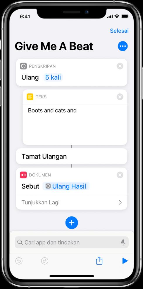 Tindakan teks dalam tindakan Ulang yang disetkan untuk gelung 5 kali.