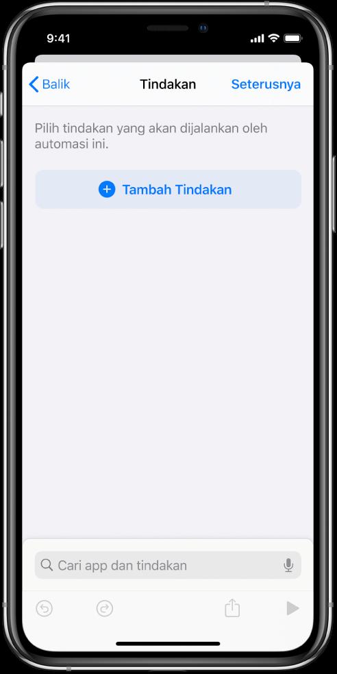 Automasi kosong dalam editor automasi daripada app Pintasan.