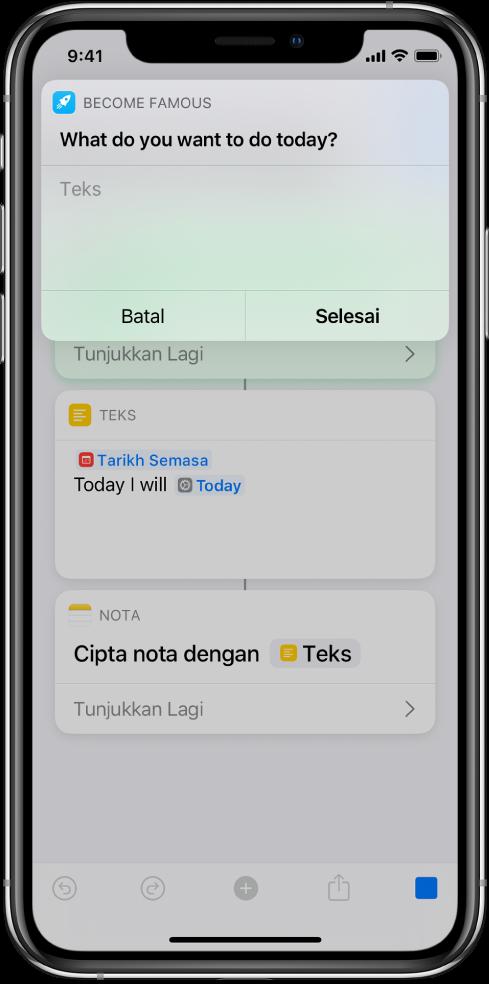 Dialog meminta input daripada pengguna sebelum pintasan diteruskan.