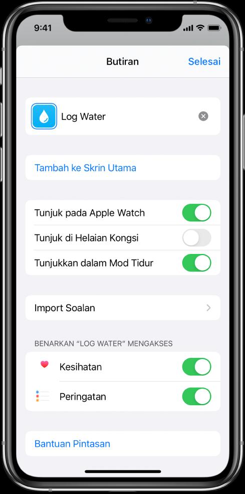 Skrin Butiran dalam app Pintasan menunjukkan Tambah ke Skrin Utama.