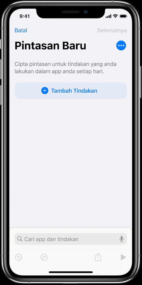 Editor pintasan kosong pada iPhone.