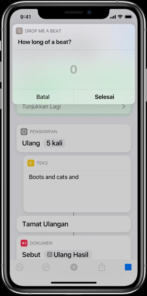 Dialog yang meminta input berangka daripada pengguna membuka pad kekunci angka berbanding papan kekunci teks.