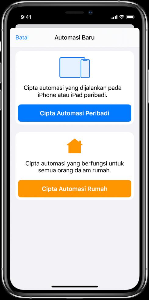 Bahagian Automasi daripada app Pintasan.