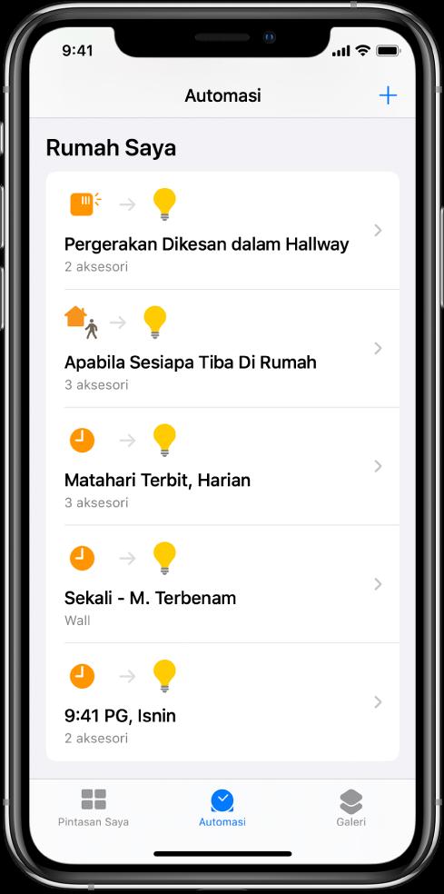 Automasi rumah dalam app Pintasan.