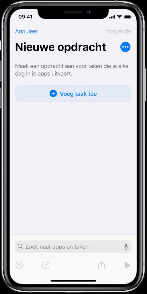 Lege opdrachteneditor op een iPhone.