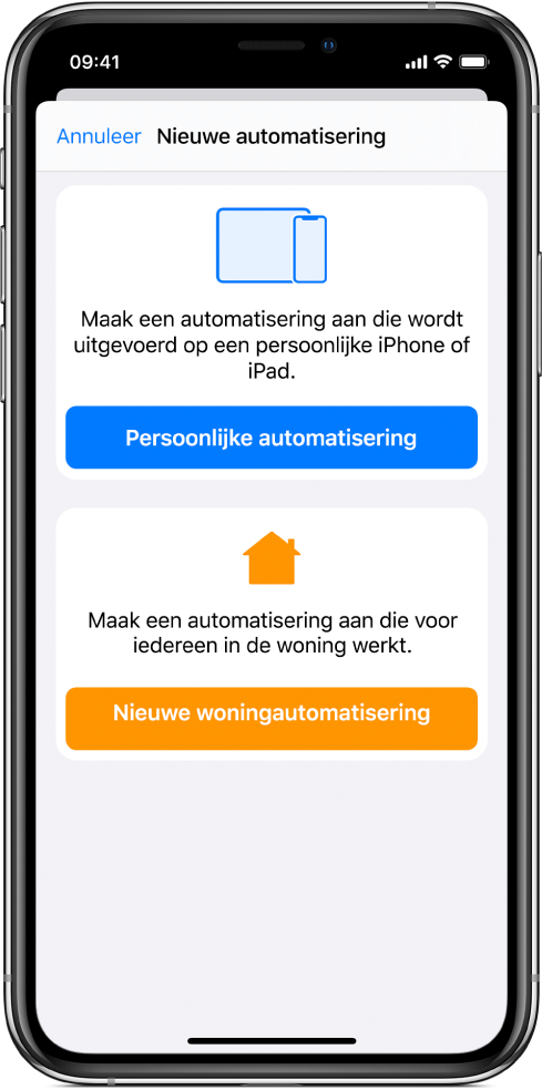 'Nieuwe automatisering' als er al een automatisering in de Opdrachten-app aanwezig is.
