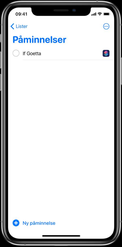 Påminnelser-appen som viser den nye snarveispåminnelsen.