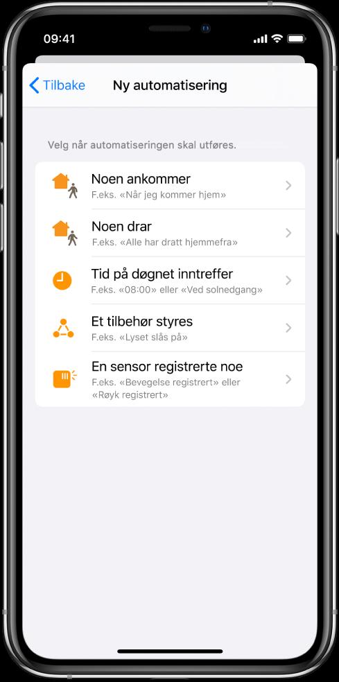 Hjemautomatisering i Snarveier-appen.