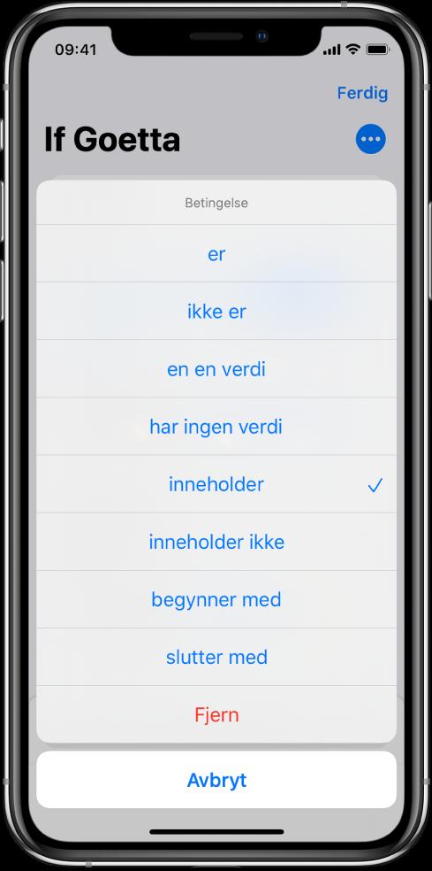 Valg av Inndata-betingelser i Hvis-handlingen.