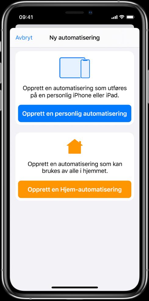 Ny automatisering når automatisering allerede eksisterer i Snarveier-appen.