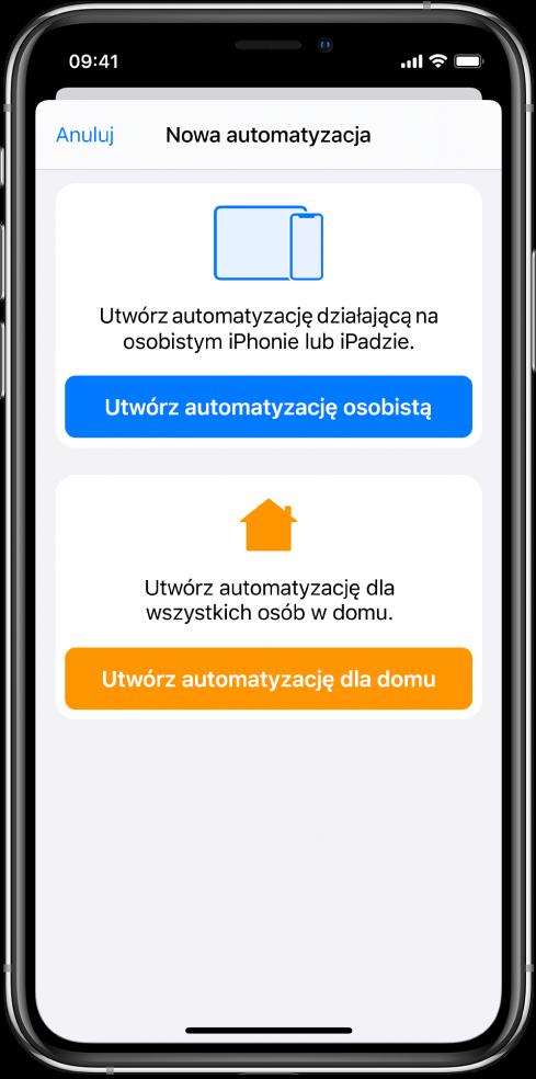 Nowa automatyzacja, gdy waplikacji Skróty istnieje już jakaś automatyzacja.