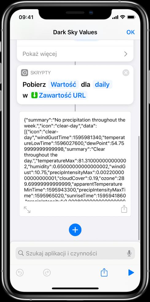 """Edytor czynności zczynnością Pobierz wartość ze słownika, skonfigurowaną do pobierania klucza onazwie """"daily""""."""