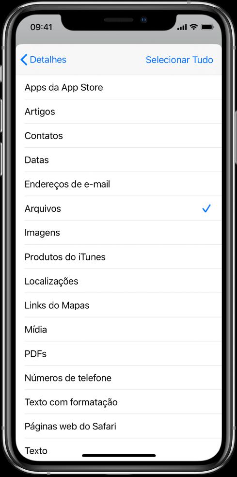 Lista de entradas na Folha de Compartilhamento mostrando os tipos de conteúdo disponíveis para um atalho quando executado a partir de outro app.